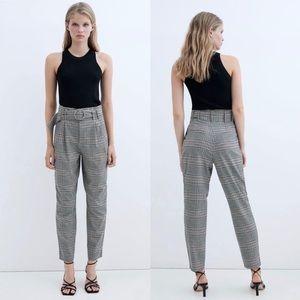 Zara TRF plaid trousers with belt
